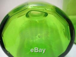 Vintage Blenko Glass 24 Tall Floor Decanter w Stopper Joel Myers # 6955 Green