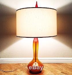 Vintage Blenko Glass 5815 Lamp in Tangerine, Wayne Husted 1960s MCM Modernism