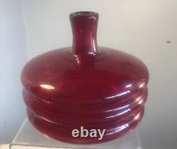 Vintage Blenko Glass Decanter Regal Specialty Line 9-re Wayne Husted Red