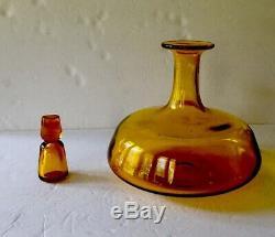 Vintage Blenko Jonquil American Art Glass Ships Liquor Decanter Amber Yellow 10