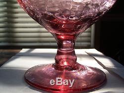 Vintage Blenko Rose Crackle Glass Decanter Hand Blown Art Glass from WV, USA