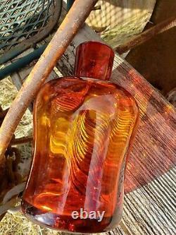 Vintage Blenko Tangerine Amberina Decanter MCM Wayne Husted