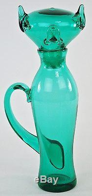 Vintage Blenko Wayne Husted Design #5510 Kitty Pussycat Decanter 1955 Mod Cat