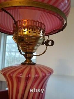 Vintage Cranberry Optic Swirl Fenton Student Lamp