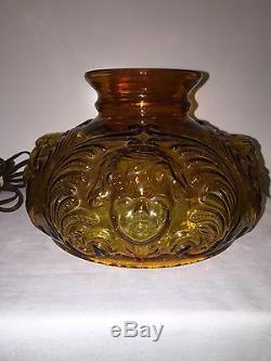 Vintage FENTON Amber Glass Cherub Angel Face Parlor Table Hurricane Lamp Rare