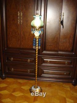 Vintage FENTON BLUE Opalescent Hobnail floor lamp