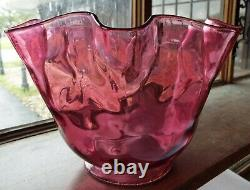 Vintage FENTON Cranberry Glass & Brass Art Glass Electric LAMP Complete -WORKS