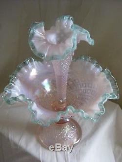 Vintage FENTON Opalescent Hobnail Epergne Flower Vase Ruffled SIGNED BILL FENTON
