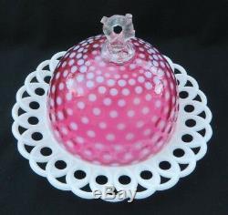 Vintage Fenton 1950's Milk Glass & Polka Dot Cranberry Cheese / Butter Dish Rare