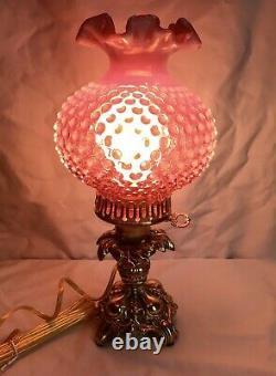 Vintage Fenton Art Cranberry Opalescent Hobnail Lamp