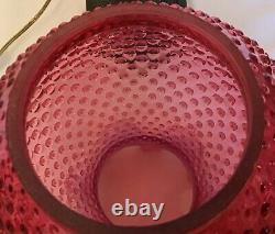 Vintage Fenton Art Glass Cranberry Opalescent Hobnail Lamp Q1
