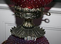 Vintage Fenton Art Glass Gwtw Cranberry Opalescent Hobnail Lamp 3 Way