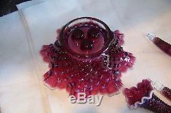 Vintage Fenton Art Glass Hobnail Opalescent Plum Purple Epergne Set