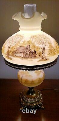 Vintage Fenton Art Glass LOG CABIN Table Lamp Painted by ANDRICK Custard Glass