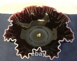 Vintage Fenton Art Glass Plum Opalescent Hobnail Bowl & Pitcher Set