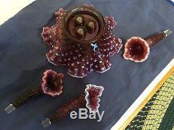 Vintage Fenton Art Glass Plum Opalescent Hobnail Epergne