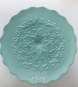 Vintage Fenton Art Glass Spanish Lace Aqua/Turquoise Cake Stand No Crest