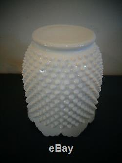 Vintage Fenton Art Glass White Milk Glass Hobnail Cookie Jar Canister