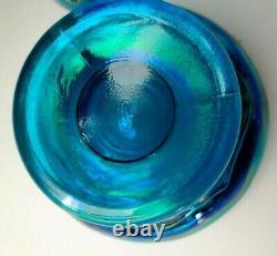 Vintage Fenton Atlantis Koi Fish Fairy Lamp Hand Painted Signed Ultramarine Blue