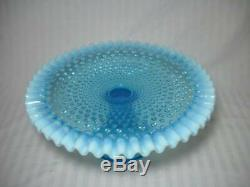 Vintage Fenton Blue Opalescent Hobnail Cake Stand Circa 1948-1955 Excellent