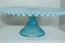 Vintage Fenton Blue Opalescent Hobnail Footed Cake Plate Stand With Ruffled Edge