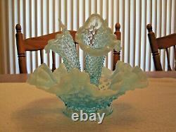 Vintage Fenton Blue Opalescent Hobnail Glass Epergne Bowl 3 Lily Horn Vase
