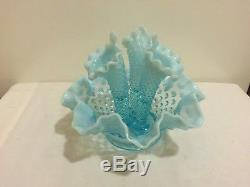 Vintage Fenton Blue Opalescent Hobnail Glass Epergne Centerpiece Three Horn 1950