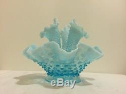 Vintage Fenton Blue Opalescent Hobnail Glass Epergne Centerpiece Three Horn 1950