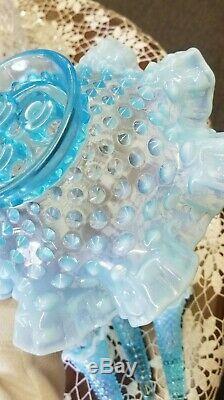 Vintage Fenton Blue Opalescent Hobnail Miniature Epergne Bowl 3 Lily Horn Vase