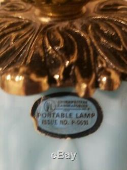 Vintage Fenton Blue Satin Poppy Double Ball Gone With The Wind Lamp
