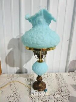 Vintage Fenton Blue Satin Poppy Student Table Lamp