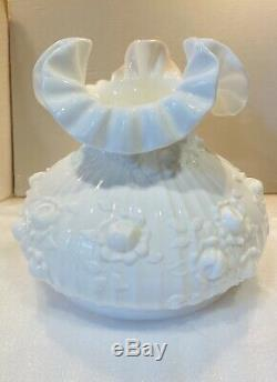Vintage Fenton Cabbage Rose Electric Student Lamp White Marble Base 19 1/2 Tall