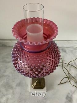 Vintage Fenton Cranberry Hobnail Lamp