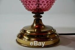 Vintage Fenton Cranberry & Opal Hobnail Electric Lamp Victorian Design