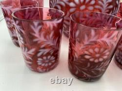 Vintage Fenton Cranberry Opalescent Daisy & Fern Pitcher with 7 glasses Nice Set