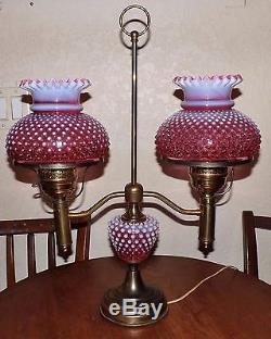 Vintage Fenton Cranberry Opalescent Hobnail Double Student Lamp & Brass