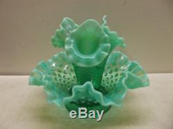 Vintage Fenton Emerald Green Opalescent 3 Horn Hobnail Epergne