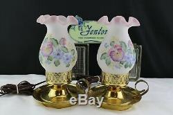 Vintage Fenton Finger Hurricane Lamp withPink Burmese D. Barbor