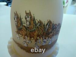Vintage Fenton Glass Anheuser Busch Budweiser Clydesdale Horses Fairy Lamp