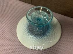 Vintage Fenton Glass Blue Opalescent Diamond Lace Cake Plate Stand