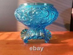 Vintage Fenton Glass Blue Poppy Flowers Ruffled Lamp Shade Excellent Condition