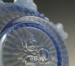 Vintage Fenton Glass Bride Basket Lavender Blue Opalescent Cabbage Rose, Rare