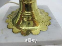 Vintage Fenton Glass Poppy Student Lamp White Marble Base 19 1/2 Tall