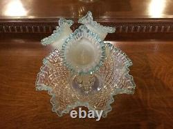 Vintage Fenton Hobnail Diamond Lace 3 Horn Large Glass Blue Opalescent Epergne