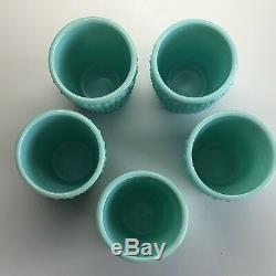 Vintage Fenton Hobnail Turquoise Juice Set