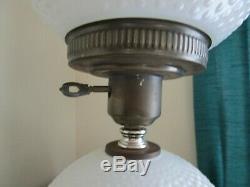 Vintage Fenton Hobnail White Milk Glass Globe Lamp 21 H 3 Way Rare Very Good