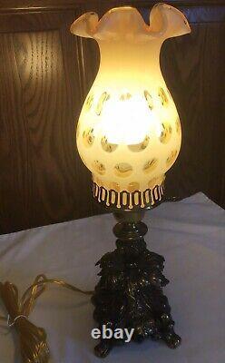 Vintage Fenton Honeysuckle Opalescent Coin Dot Lamp