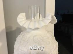 Vintage Fenton Hurricane Lamp Gone With The Wind Poppy Flowers, White Milk
