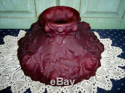 Vintage Fenton LG Smith Hurricane QWTW Parlor Lamp DK Cranberry Puffy Rose 3-Way