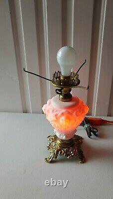 Vintage Fenton L. G. Wright puffy roses white cranberry interior GWTW parlor lamp